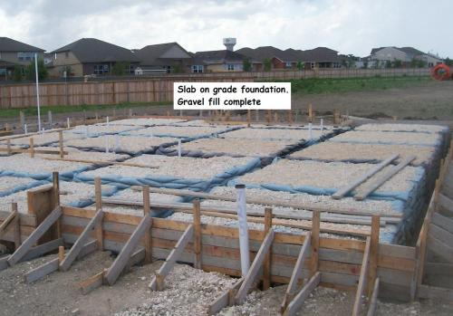 Slab Foundation forms set, pluming roughed in  and gravel fill complete